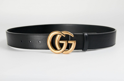 Leather Belt with Double G buckle(Black 4.0W) - PerfectKickZ