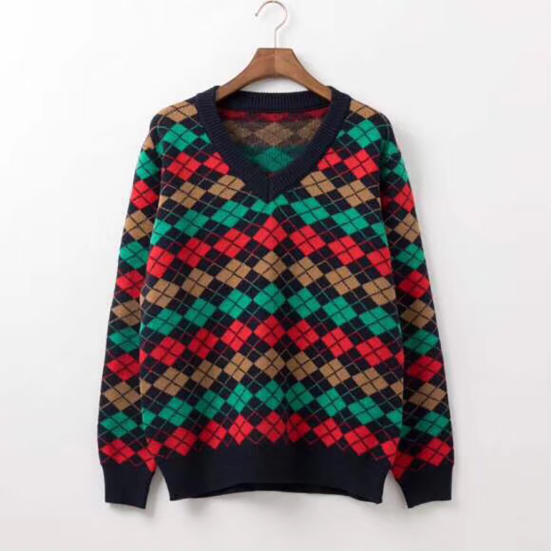 Argyle Alpaca Wool V-neck Sweater - PerfectKickZ