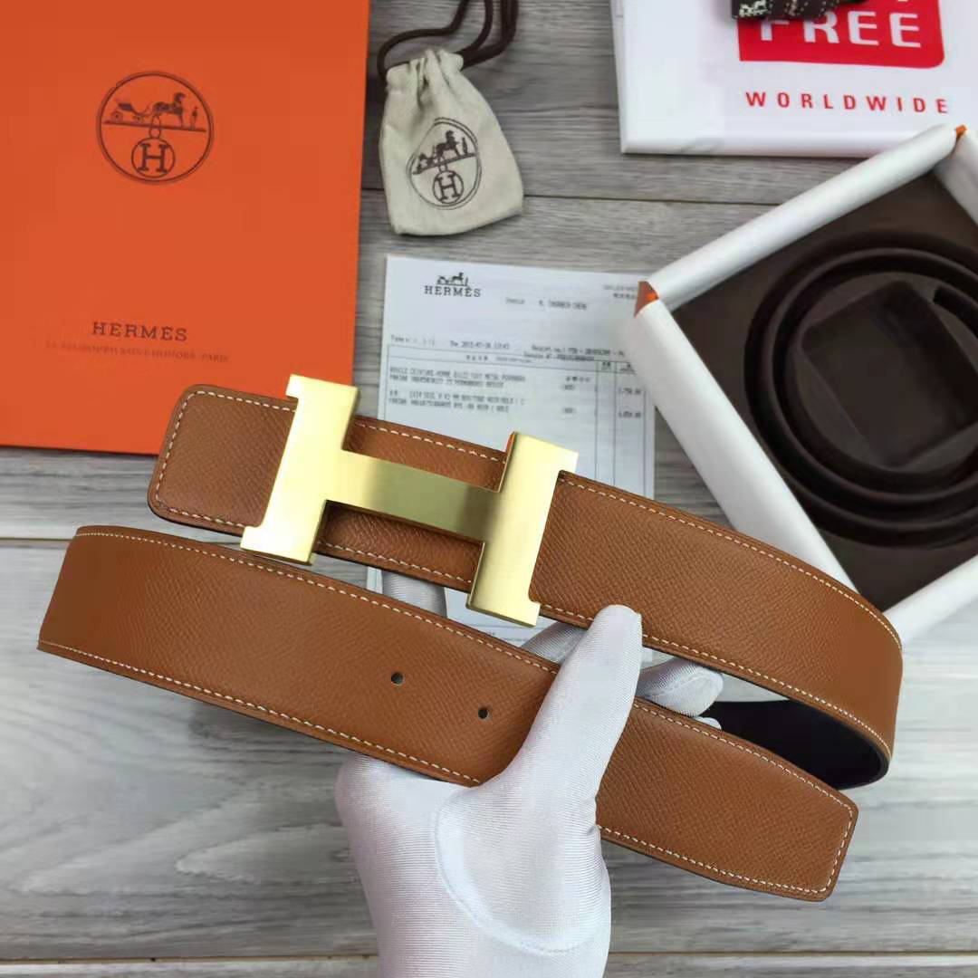 Brown Leather Belt with Gold Buckle - PerfectKickZ