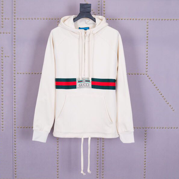 Web and Gucci Label Cotton Hoodie With Back Pattern - PerfectKickZ