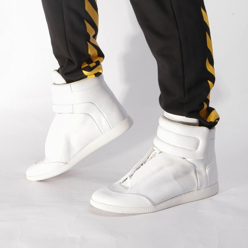 Limited Version White Leather High-Top Sneaker for Men - PerfectKickZ