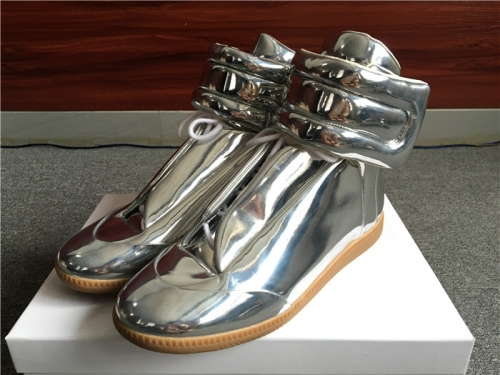 Limited Version Maison Margiela Silver Patent Leather High-Top Sneakers - PerfectKickZ