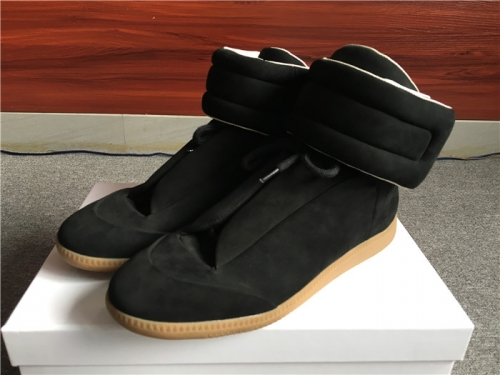 Limited Version Maison Margiela Black Suede High-Top Sneakers with Khaki Rubber Outsole - PerfectKickZ