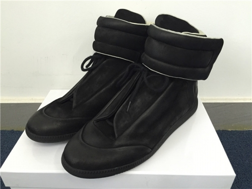 Limited Version Maison Margiela Black Suede High-Top Sneakers with Black Rubber Outsole - PerfectKickZ