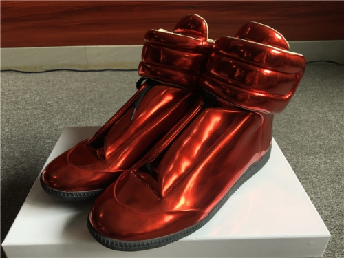 Limited Version Maison Margiela Metallic Red Future Leather High-Top Sneakers - PerfectKickZ