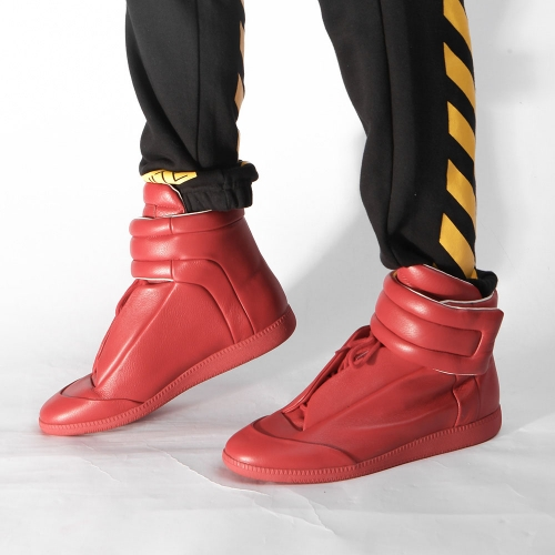 Limited Version Maison Margiela Red Future Leather High-Top Sneakers with Red Outsole - PerfectKickZ
