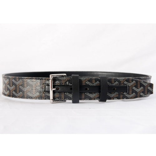 Monogram Paris Leather Mens Black Belt - PerfectKickZ