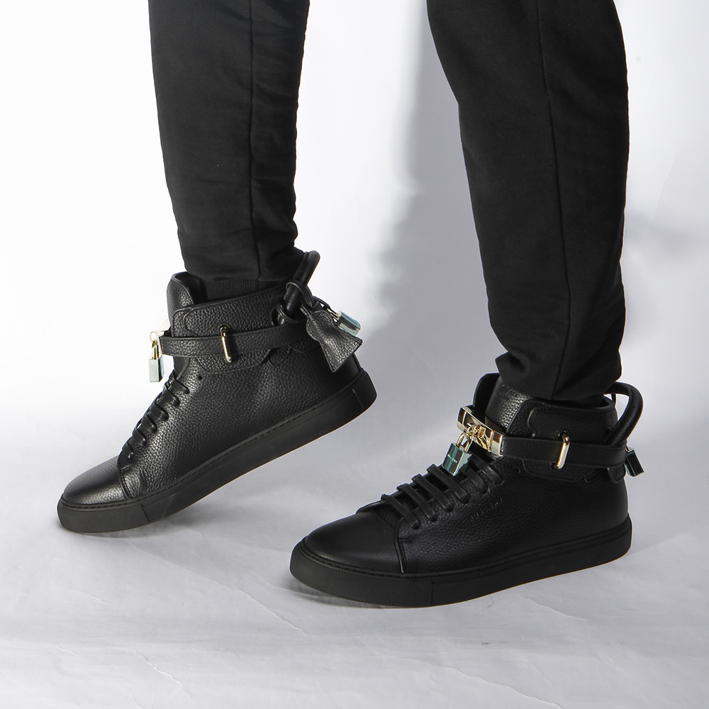 High-top Top Pebbled Leather Black Sneaker - PerfectKickZ