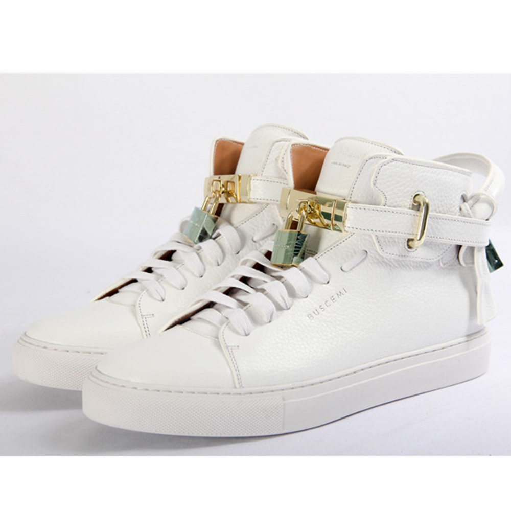 High-top Top Pebbled Leather White Sneaker - PerfectKickZ