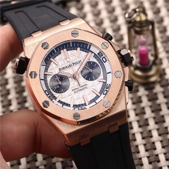 Royal Oak Offshore Jewelly Men Gold Color Dial Watch - PerfectKickZ