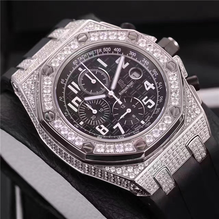 Royal Oak Offshore Jewelly Silver Strap Black Dial Watch for Men - PerfectKickZ
