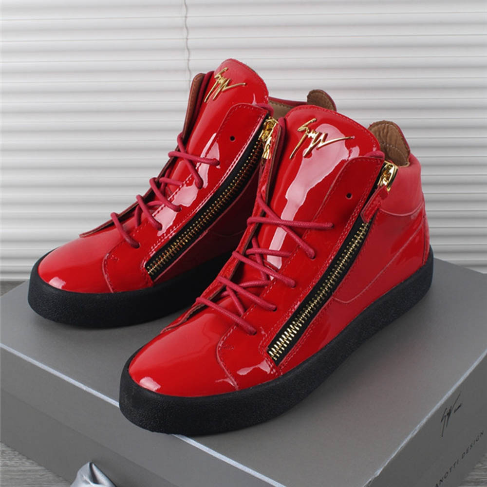 Kriss Patent Leather High Top Red Sneakers - PerfectKickZ