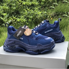 Triple S Clear Sole Sneakers in Navy Blue - PerfectKickZ