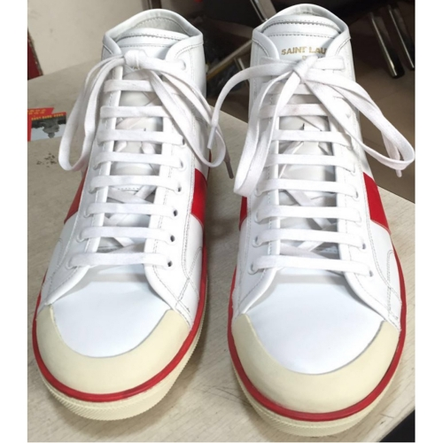 Limited Version Signature Court Classic High Top In White Leather Men Sneaker - PerfectKickZ