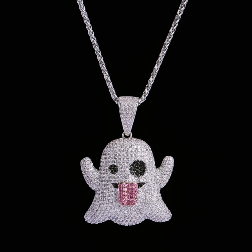 FREE SHIPPING White Gold Iced Ghost Emoji Pendant - PerfectKickZ