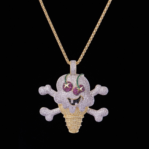 FREE SHIPPING 14k Gold Iced Out Cherry Ice Cream Necklace - PerfectKickZ