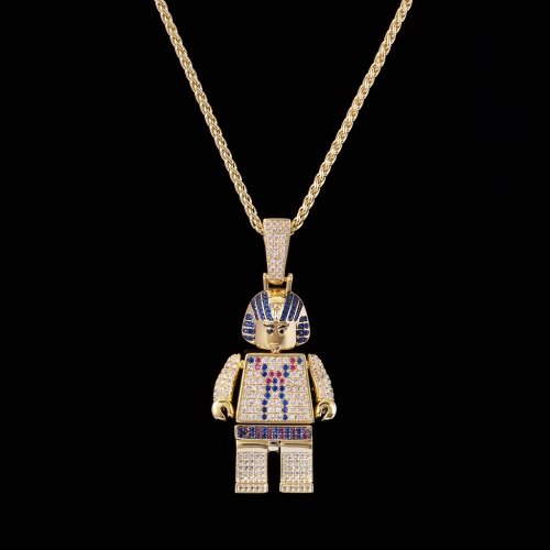 FREE SHIPPING 14K Gold Iced Out Pharaoh Block Pendant - PerfectKickZ