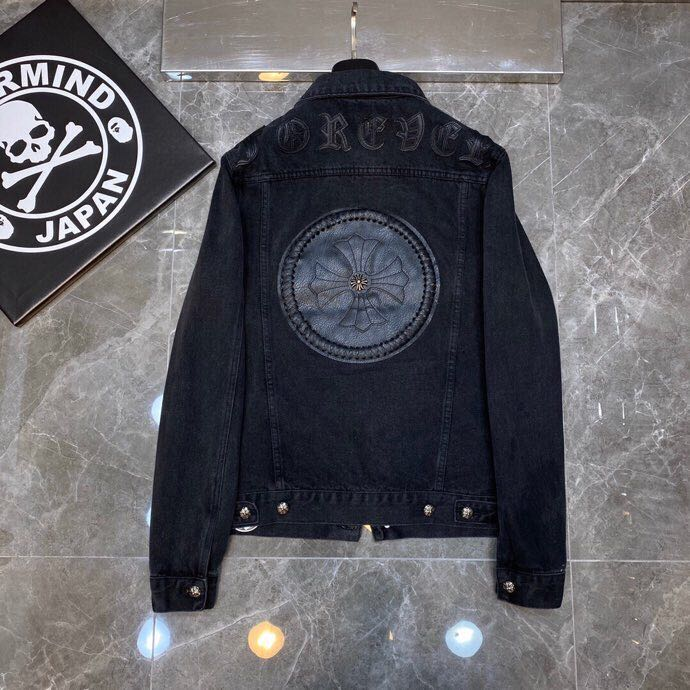 Leather Cross Patch Denim Jacket - PerfectKickZ