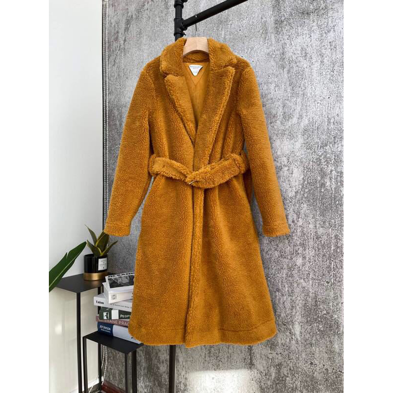 Triangle-stitched Belted Shearling Coat - PerfectKickZ