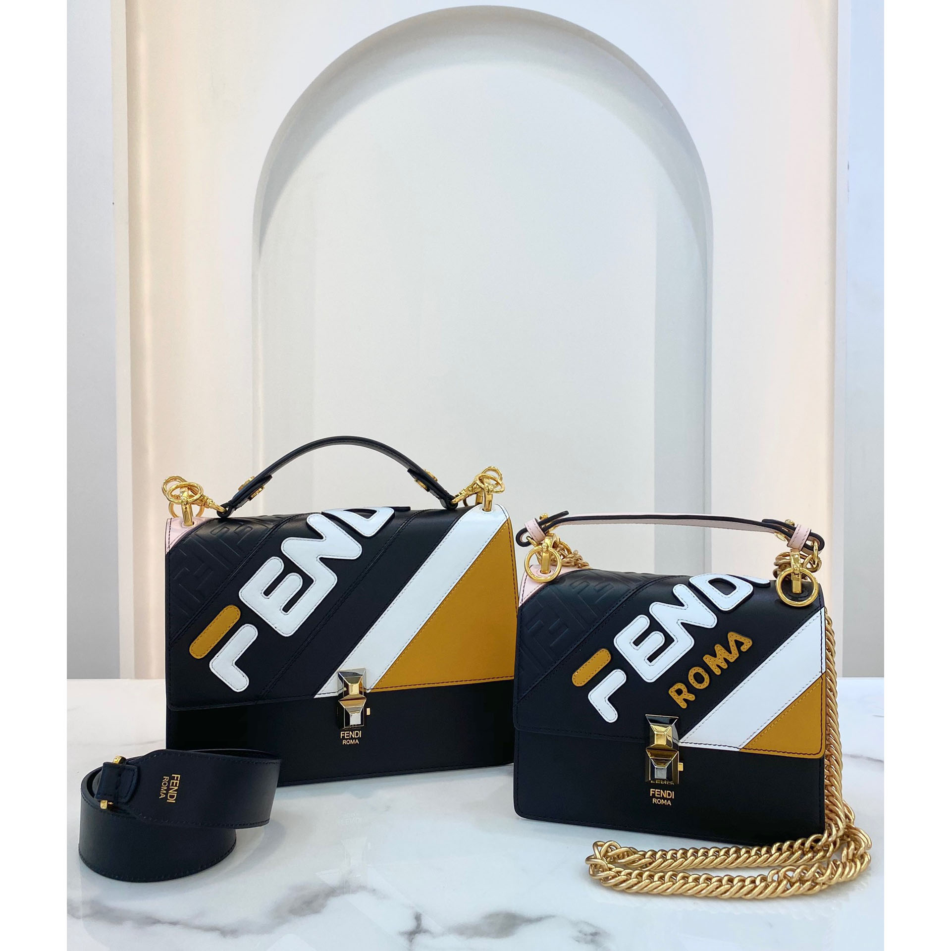 Fendi Kan I Mania Striped Shoulder Bag - PerfectKickZ
