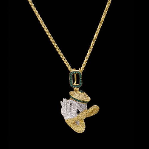 FREE SHIPPING 14k Gold Iced Out Little Duck Pendant - PerfectKickZ