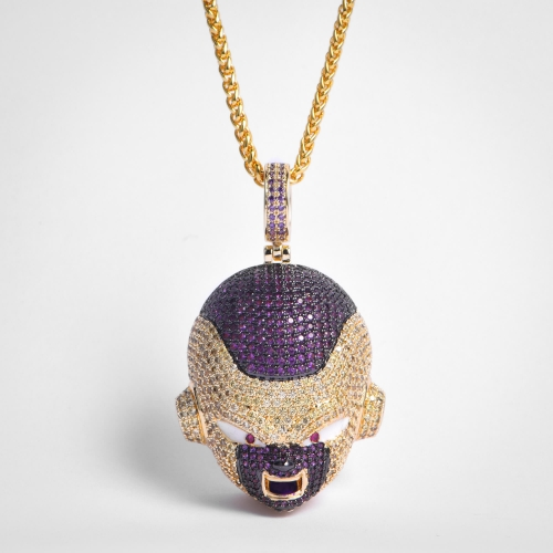 FREE SHIPPING 14K Gold Iced Frieza Pendant - PerfectKickZ