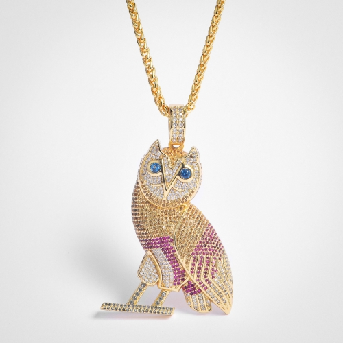 FREE SHIPPING Fully Iced Out Colorful Owl Pendant   - PerfectKickZ