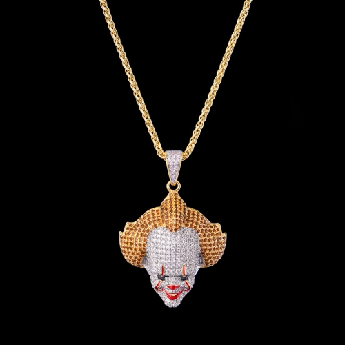 FREE SHIPPING 14K Gold Iced Out Clown Pendant - PerfectKickZ