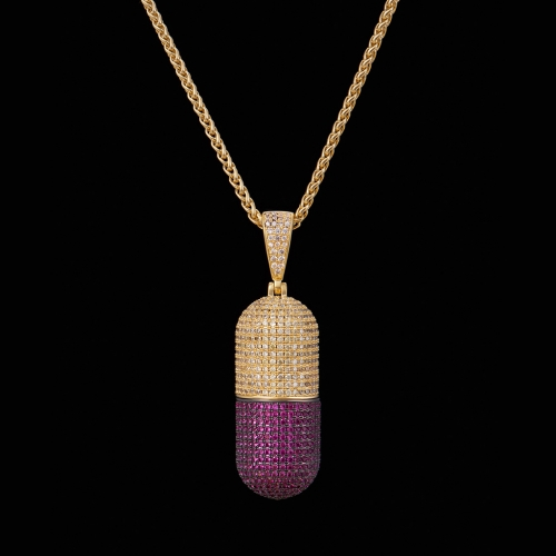 FREE SHIPPING 14K Gold Iced Out Detachable Pill Emoji Pendant - PerfectKickZ